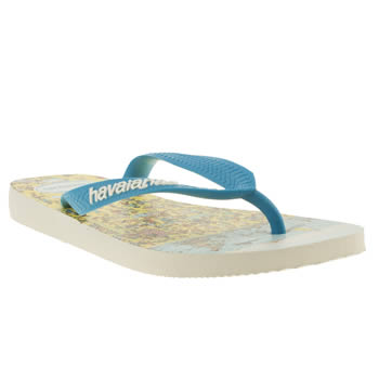 Havaianas White & Blue Wally Sandals