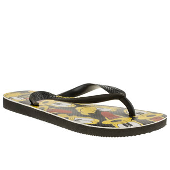 Womens Havaianas Black & White Disney Stylish Pluto Sandals