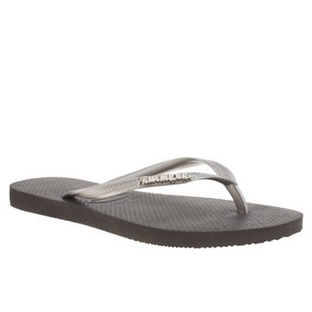 womens havaianas black & silver slim logo metallic sandals
