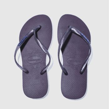 Havaianas Dark Purple Slim Logo Metallic Womens Sandals