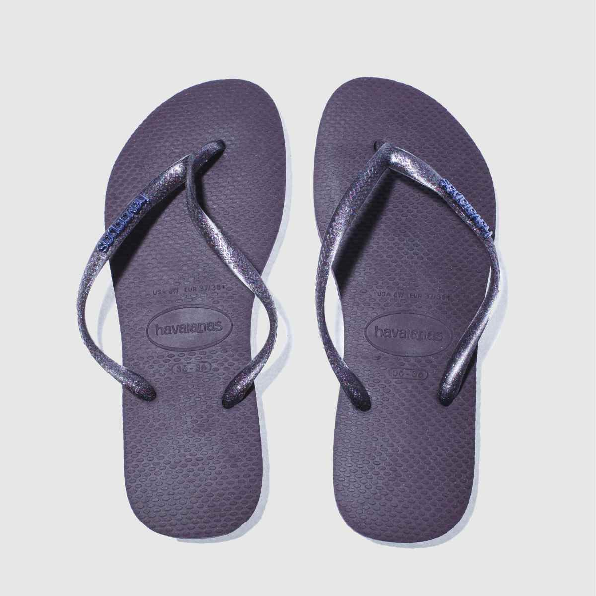 Havaianas Dark Purple Slim Logo Metallic Sandals