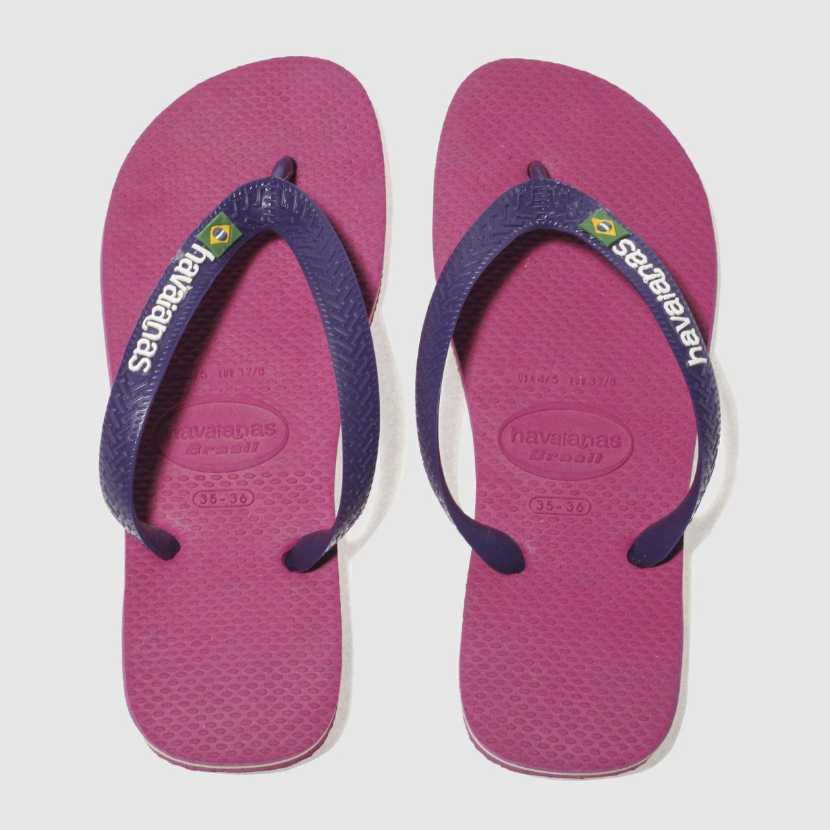 havaianas pink brasil logo sandals