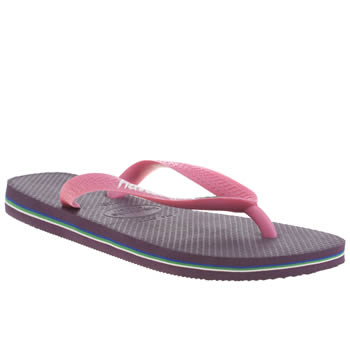 Womens Havaianas Purple Brasil Logo Sandals