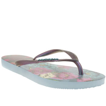 Womens Havaianas Blue Slim Tropical Sandals
