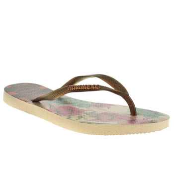 Havaianas Beige Slim Tropical Sandals
