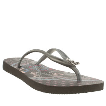 Womens Havaianas Black & Grey Slim Thematic Sandals