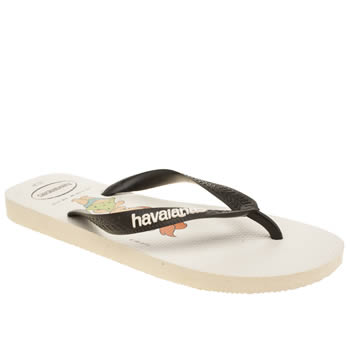 Havaianas White & Black Flintstones Sandals