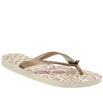 Womens Havaianas White & Gold Caprice Sandals