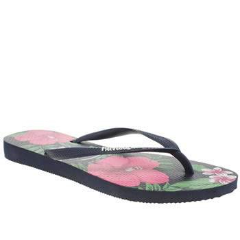 Womens Havaianas Navy & Green Slim Floral Sandals