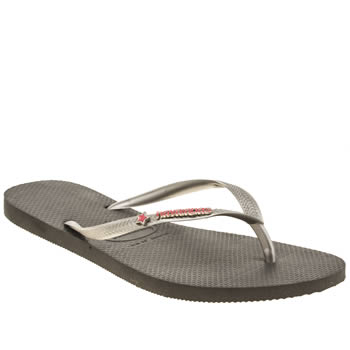 Havaianas Dark Grey & Silver Metal Logo Sweethart Sandals