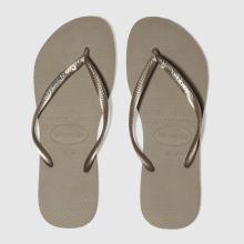 Havaianas Gold Slim Metal Logo Womens Sandals
