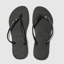 Havaianas Black & Silver Slim Metal Logo Womens Sandals