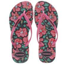 Havaianas Black & pink Slim Floral Womens Sandals