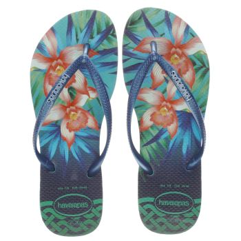 Havaianas Navy & Green Slim Tropical Womens Sandals