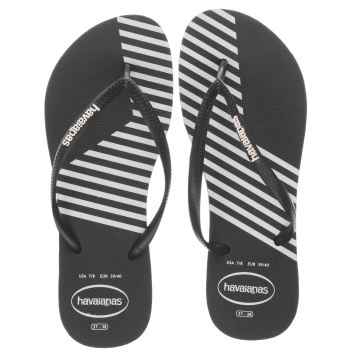 HAVAIANAS BLACK & WHITE SLIM BLOCK COLORS SANDALS