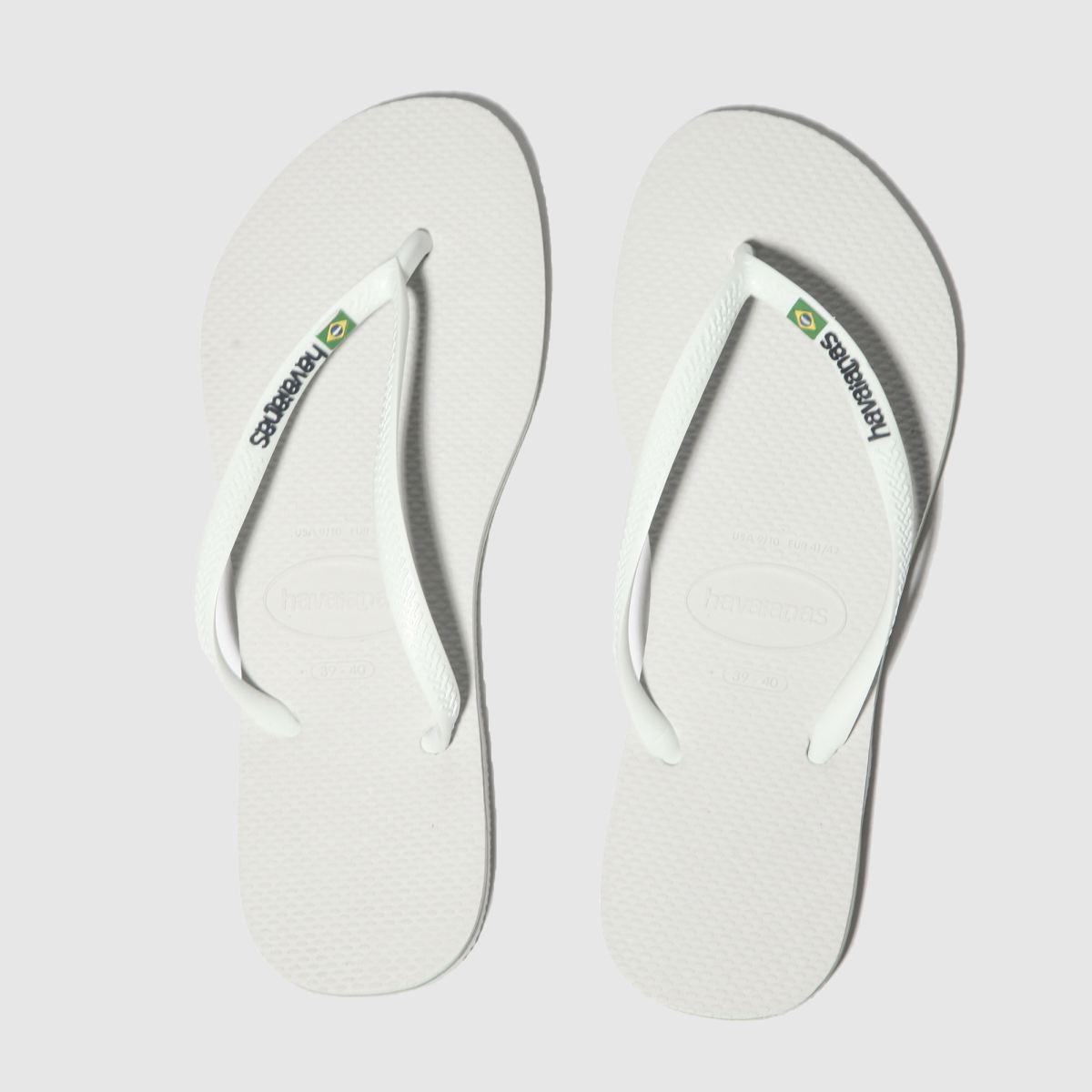 Havaianas White Slim Brasil Logo Sandals