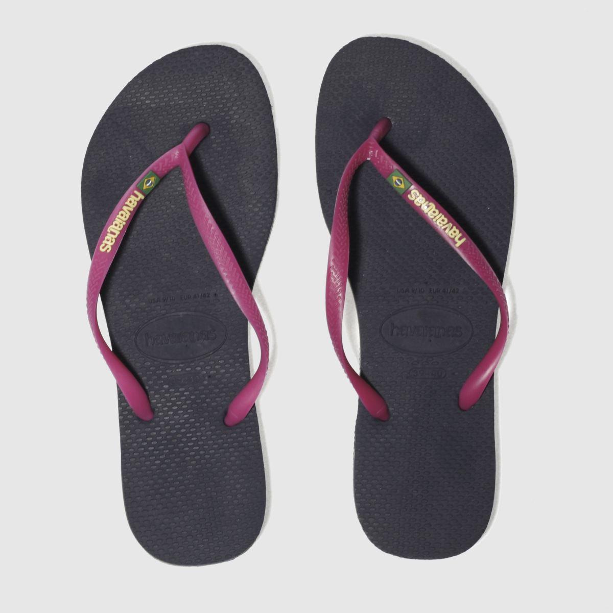 Havaianas Navy Slim Brasil Logo Sandals