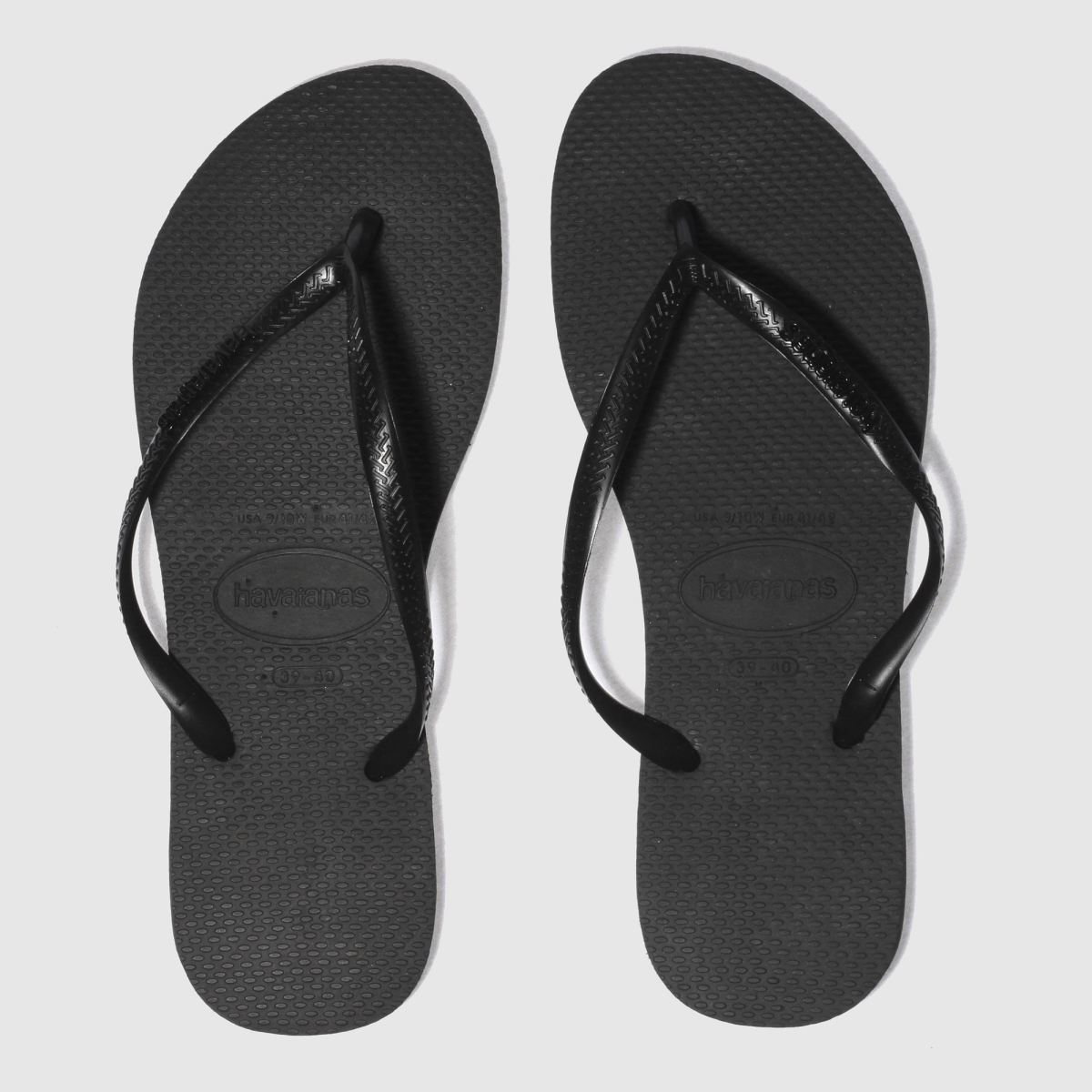 Havaianas Black Slim Logo Metallic Sandals