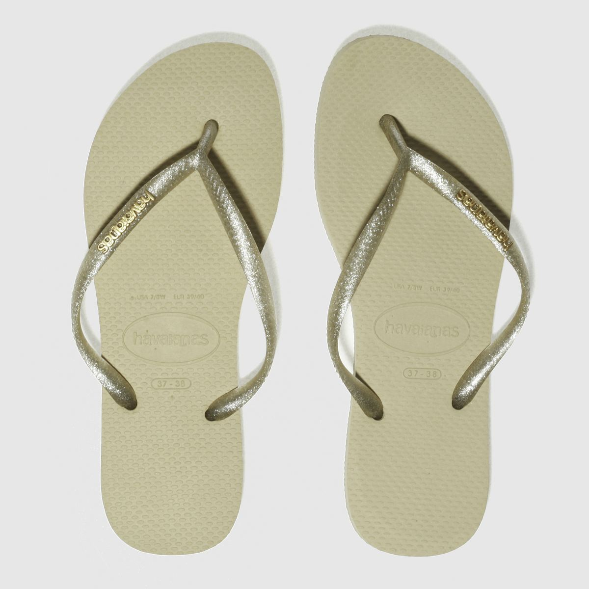 Havaianas Gold Slim Logo Metallic Sandals