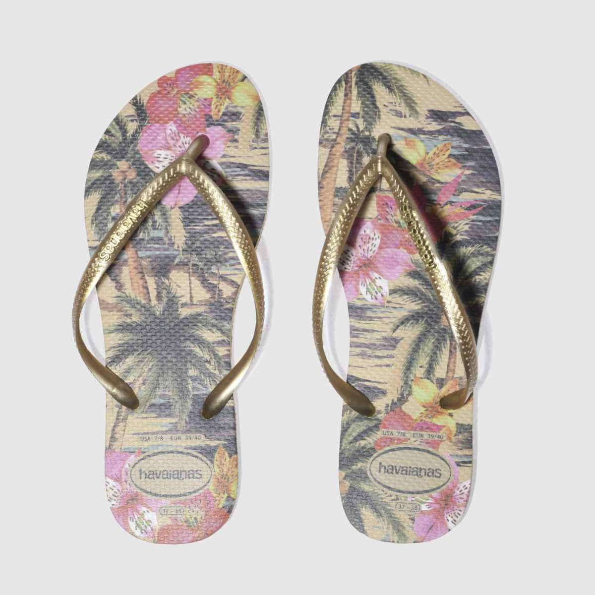 Havaianas Gold Slim Tropical Sandals