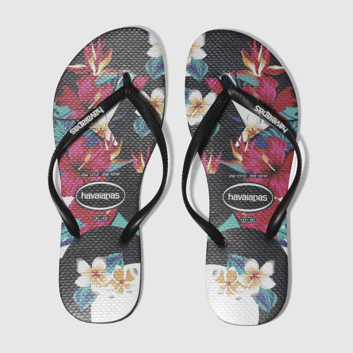 Havaianas Black & Red Slim Tropical Floral Sandals