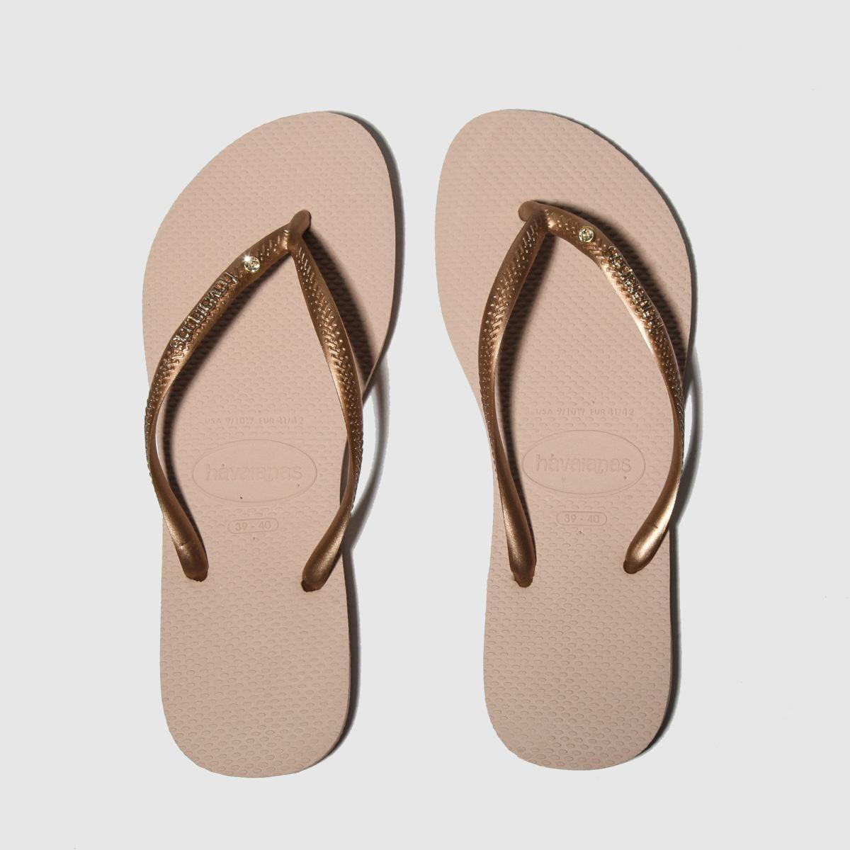 Havaianas Gold Slim Metal Logo & Crystal Sandals