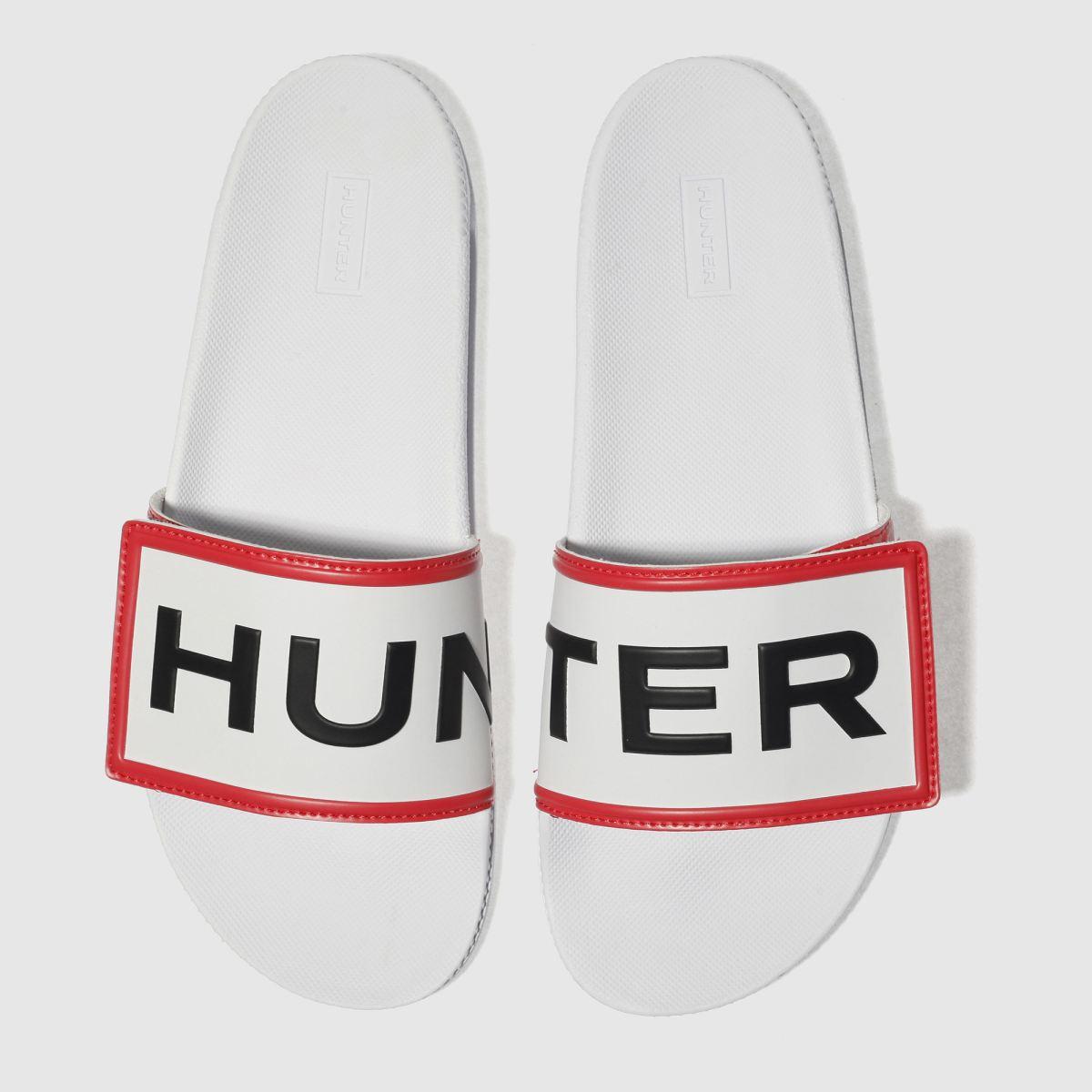 Hunter White Adjustable Logo Slide Sandals