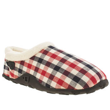 Homeys White & Red Daisy Gingham Slippers