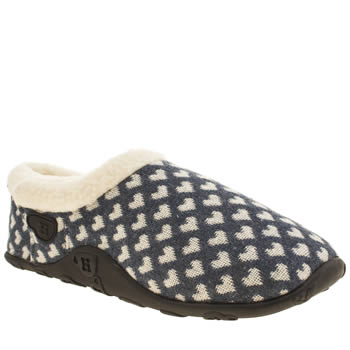 Womens Homeys Navy & White Joie Heart Slippers