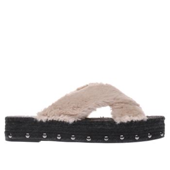 Missguided Pale Pink Faux Fur Cross Strap Sandals
