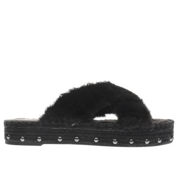 Missguided Black Faux Fur Cross Strap Womens Sandals