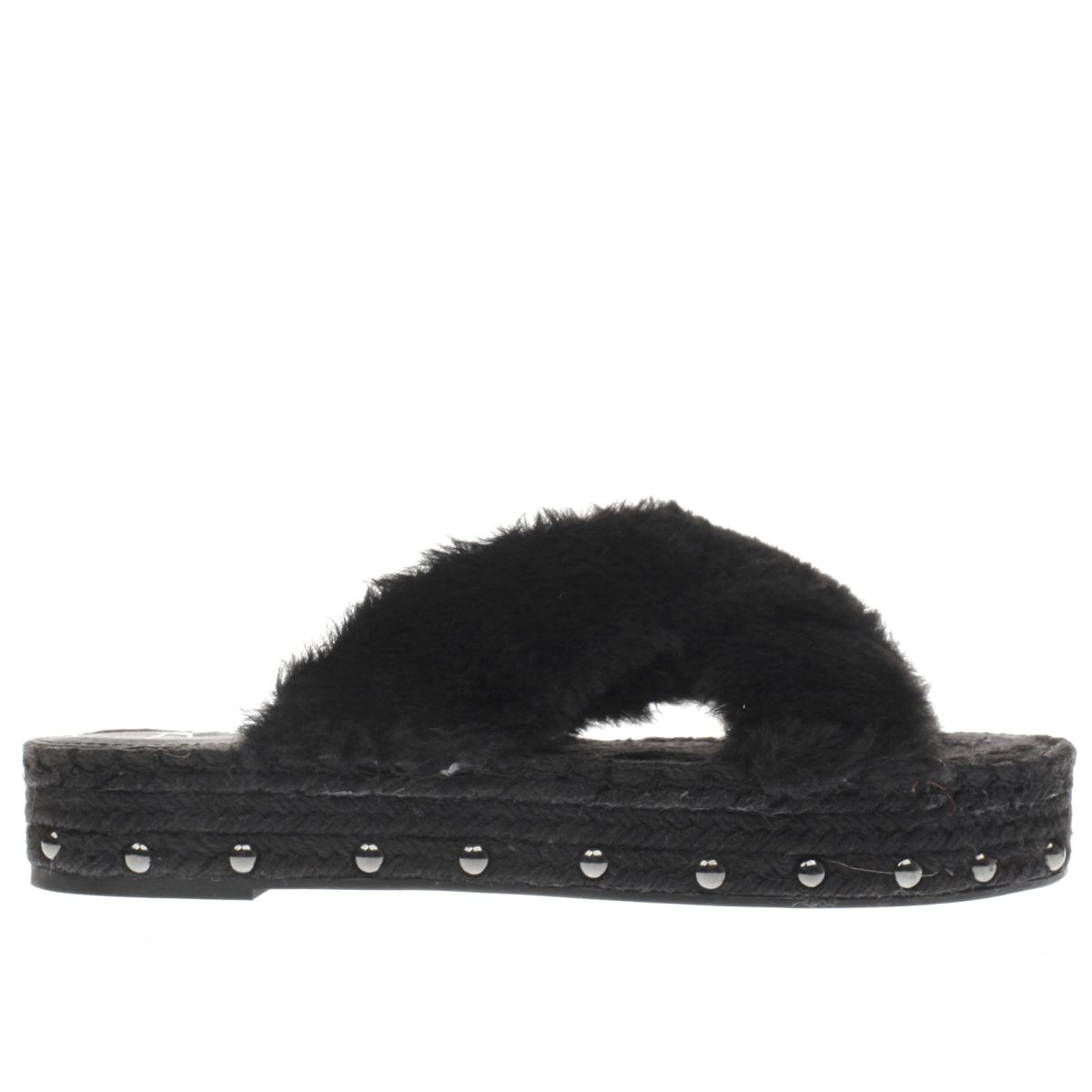 missguided black faux fur cross strap sandals