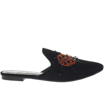 MISSGUIDED BLACK EMBROIDERED LADYBIRD MULE SANDALS