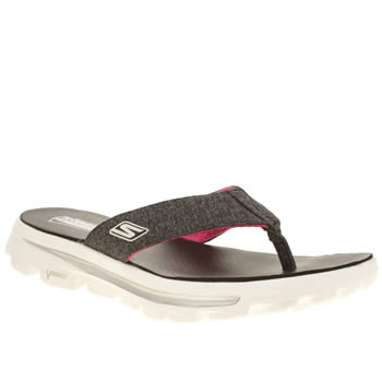 Skechers Black & White Go Walk Move Solstice Sandals