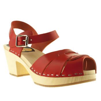 womens swedish hasbeens red peep toe high sandals
