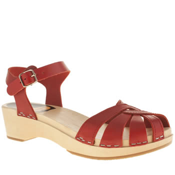 Womens Swedish Hasbeens Red Debutant Sandals