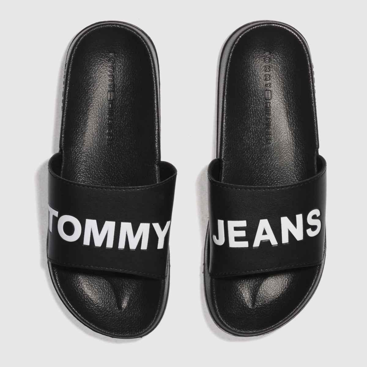 Tommy Hilfiger Black & White Tj Pool Slide Sandals