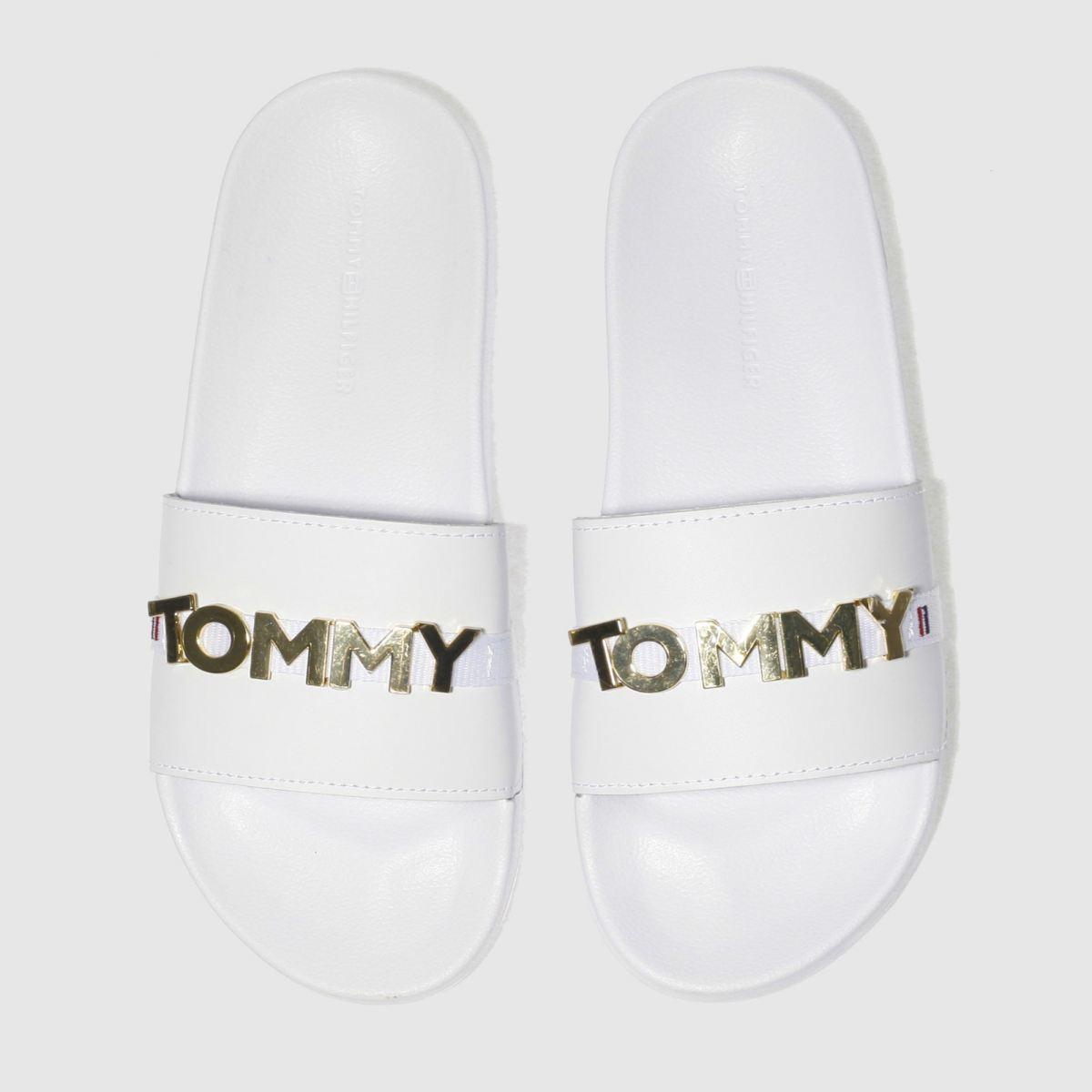 Tommy Hilfiger Tommy Hilfiger White & Gold Beach Slide Sandals
