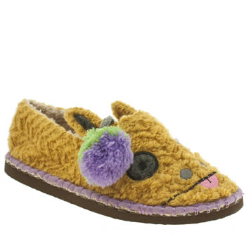 Womens Tigerbear Republik Yellow Beastie Girwaffle Slippers