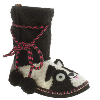 Womens Tigerbear Republik Black & White Pandarama Bootie Slippers