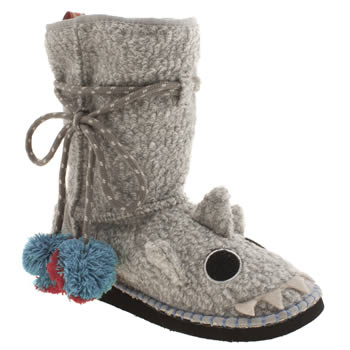 Womens Tigerbear Republik Light Grey Shtoopidshark Slippers