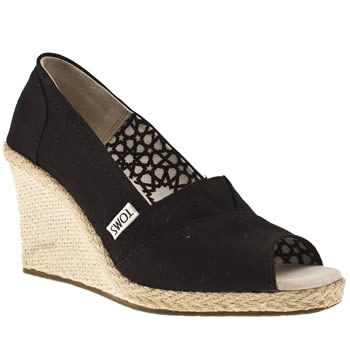 Toms Black Wedge Sandals