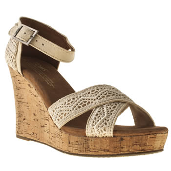 Toms Natural Strappy Wedge Crochet Sandals