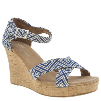 Toms White & Blue Strappy Wedge Sandals