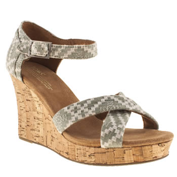 Womens Toms Pale Blue Strappy Wedge Sandals