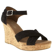 Black Toms Strappy Wedge