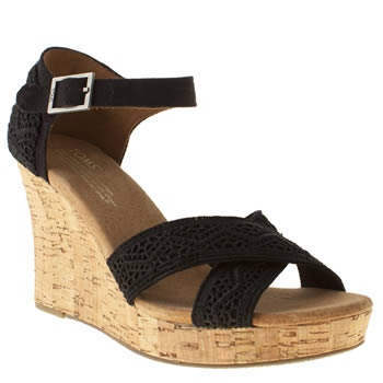 Womens Toms Black Strappy Wedge Sandals