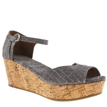 Toms Pale Blue Platform Wedge Sandals
