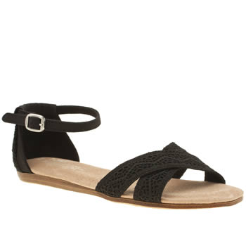 Toms Black Correa Crochet Sandals