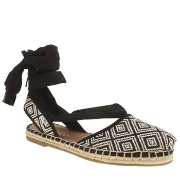 Toms Black & White Bella Espadrille Diamond Sandals